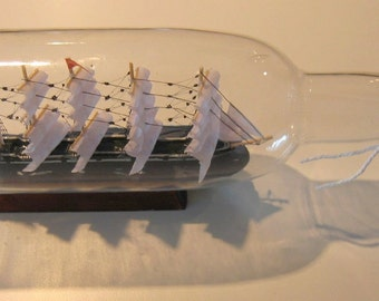 "Five Masted SHIP in a BOTTLE 11"" long- New old stock in box."