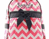 Personalized Girls Chevron Print Quilted Backpack - Coral with Gray Trim Booksack Monogrammed FREE