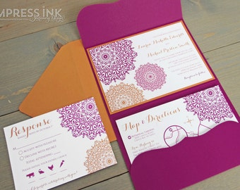 Moroccan Filigree Wedding Invitation Sample | Flat or Pocket Fold Style