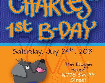 Doggie Schnauzer Boy Birthday Invitation - Personalized - Blue, Orange, Dog, Cute, Modern, Doggie, animal, theme party, children, boy, girl