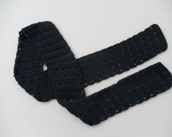 Black Crochet Scarf Womens Scarf Teen Girls Scarves Black Lacy Crochet Scarf (S104 Black)