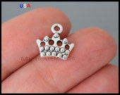 1 Silver CROWN Charm Dangle - 11mm Princess Queen Royalty Crown Metal Pendant - Instant Shipping - USA Wholesale Charms - 6207