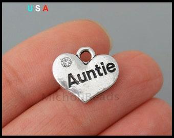 5 AUNTIE Heart Charm Pendants - 15mm Family Message Word Metal Heart w/ Rhinestone Charm - Instant Ship - USA DIY Wholesale - 6292