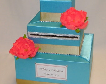 Elegant Custom made Wedding Card Box -Turquoise-Coral-Gold- any color can be made