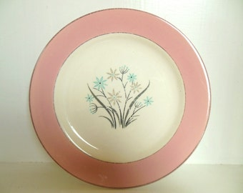 "Vintage Homer Laughlin Plate Pink Border Flowers Blue Grey 50's 7 1/4"" 50's (item 1)"
