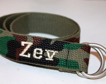 Boys Camouflage Belt D Ring Army Belt with Initials or Name Military Kids Belt Army Kid Belt Camo D Ring Belt Boys Camo Belt Camo Webbing