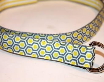 Reversible Ladies Belt Yellow and Grey Belt Ladies Belt Yellow Stripe Ribbon Belt Grey Ribbon Belt Teen Belt Women's Birthday Gift Teen Gift