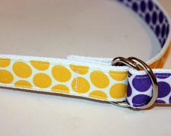 Girls Purple Belt Girls Ribbon Belt Reversible D Ring Belt Polka Dot Purple Belt Yellow Polka Dot Belt Girls Belt Two Sided Belt School Belt
