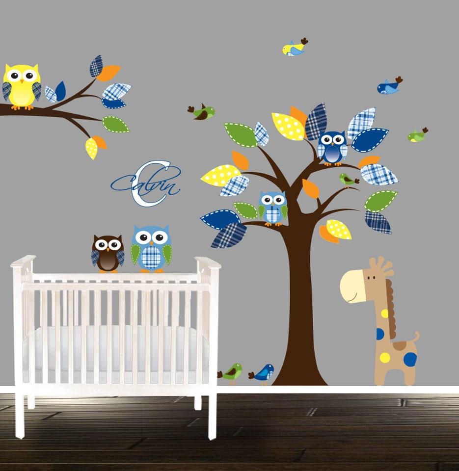 niedlichen jungen kinderzimmer wand aufkleber eule. Black Bedroom Furniture Sets. Home Design Ideas
