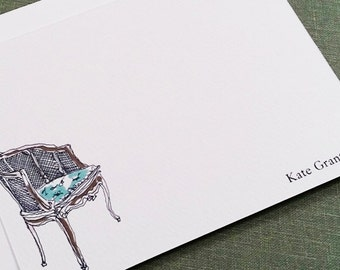 French Louis Chair Flat Note Stationery, Personalized  Set of 15