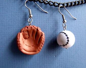 Handmade baseball and glove  Earrings
