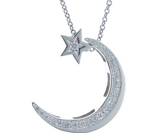 Diamond and white gold crescent moon necklace with diamond, natural diamond pendants, star and moon necklace