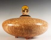 Beautiful Black Ash Burl Treasure Vessel Urn