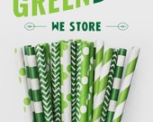 25 PAPER STRAW with free printable DIY Toppers - Green Day