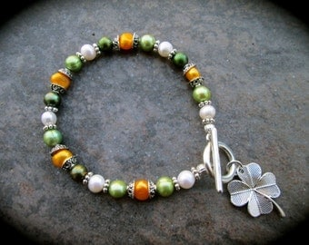 Irish Pearl Bracelet with Four Leaf Clover charm or Claddagh charm and Irish flag colored freshwater pearls Irish jewelry