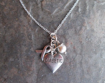 """Diabetic Heart Charm necklace with gray pearl and silver awareness ribbon charms 18"""" Sterling Silver chain Diabetes Awareness necklace"""