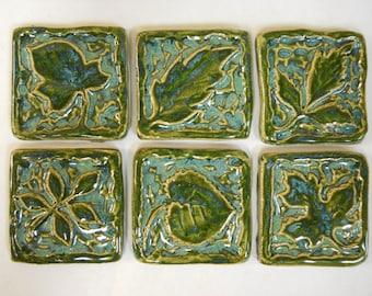 Handmade Ceramic Tiles Decorative Leaf Patterns  Deep Sea Green - Mosaic Tile Pieces - Craft Tiles - set of 6