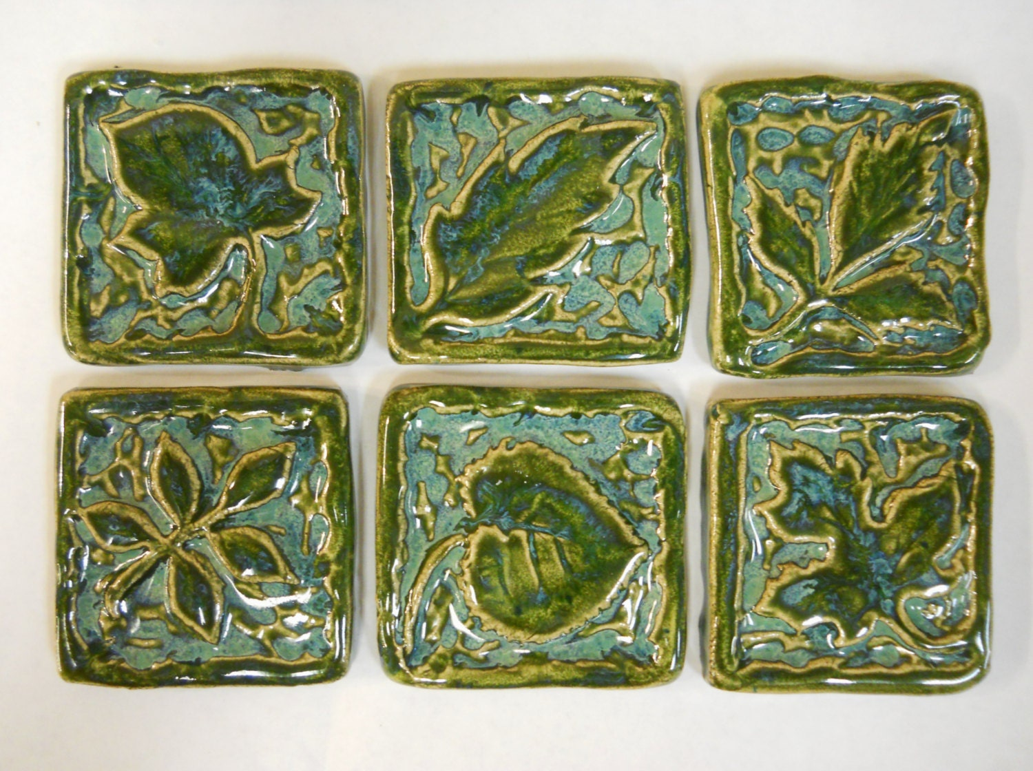 Handmade Ceramic Tiles Decorative Leaf Patterns Deep Sea