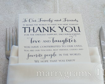 Wedding Reception Thank You Card to Your Guests - To Our Friends and Family... Reception, Seating Thank You Note Card (Set of 50) SS02