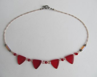 Glass Bead Necklace, Red Triangle Beads, Small Light Pink Beads