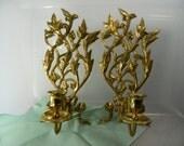 Vintage Solid Brass Candle Sconces Leaf Design Candle Sconce Set Heavy Brass