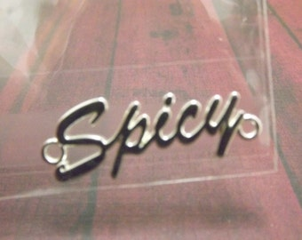 "Silver Plated Phrase ""Spicy"" Pewter Affirmation Link"