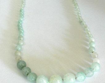 green Prehnite stone  healing necklace