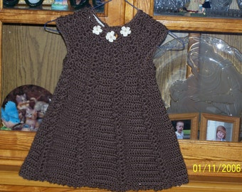 Chocolate Crocheted Baby Dress - size 12 to 18 mo
