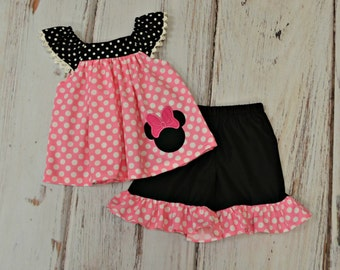 Pink and Black Minnie Mouse Outfit - Minnie Mouse Birthday Outfit - Girls Birthday Outfit - Disney Trip outfit