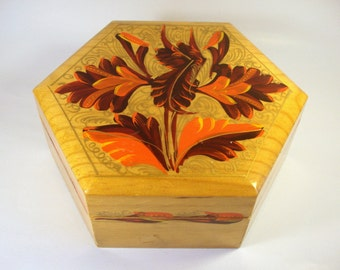 Vintage Box / Hand Painted Wood / Orange & Brown Leaves / Trinket / Jewelry / Treasure / Retro