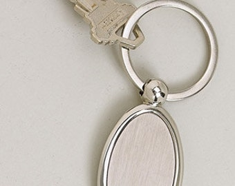 Personalized Keychain Custom Engraved Satin and High Polish Silver Oval  - Hand Engraved