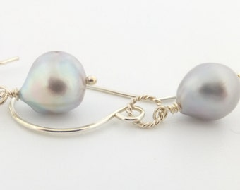 Sea of Cortez pearl earrings, saltwater, fair trade gems, rare, handcrafted, silver: Simply Adorned