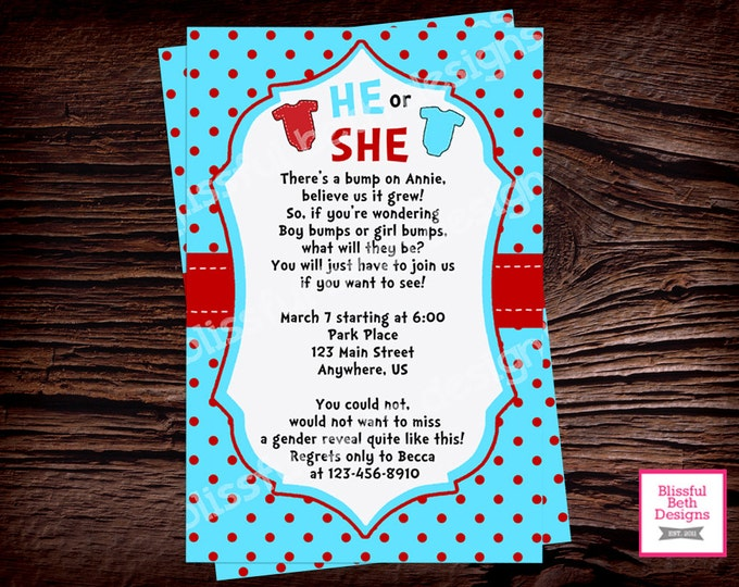 SEUSS GENDER REVEAL Dr. Seuss Gender Reveal Invitation, Seuss Gender Reveal Invite, Gender Reveal Party, Boy or Girl, Seuss Gender Reveal