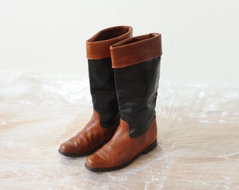 Vintage Two Tone Tall Leather Riding Boots by Remonte, Womens 6 / ITEM225