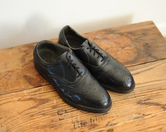 Vintage Red Wings Black Leather Oxford Wingtip Mens Dress Shoes, Made in USA, Mens 8