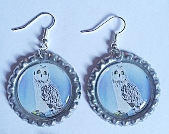 Owl Bottlecap Earrings - Dangly Owl Earrings   - Bird Earrings - Bird Jewelry - Gift For Her - Owl Jewelry