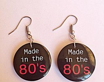 Retro Dangly Earrings - Made In The 80's - Black Button Earrings