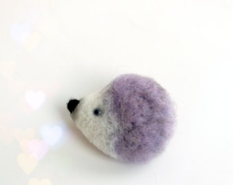 Lilac  Hedgehog, needle felted animal, Hedgehog Pin