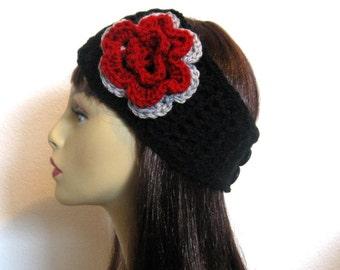 Black Thick Headband with Flower Black Head Wrap Black Ear Warmer Black Crochet head band with  Flower Black Knit Head Band with Flower