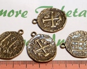 4 pcs per pack 28mm Reversible Spanish Colonial Coin Charm Antique Bronze Lead free Pewter