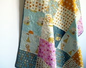 Modern baby quilt, gender neutral, cot pram crib quilt, playmat, baby blanket, nursery bedding