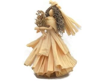 BRIDE DOLL corn husk ooak Wedding Doll