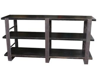 Detroit industrial doug fir wood low bookcase