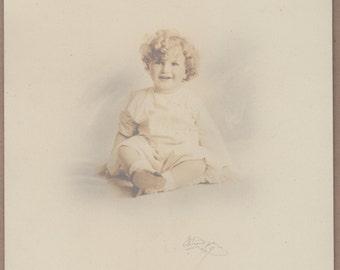 Vintage/Antique adorable signed  photo of a cute happy little boy