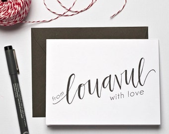 Louisville Ky Greeting Card. Kentucky Notecard. Hand Lettered Thank You Card. Bluegrass Note Card.