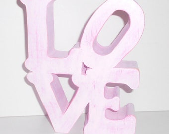 Freestanding Stacked Wooden LOVE Handcrafted And Lightly Distressed Painted In Pink's 6.5 Inches Tall