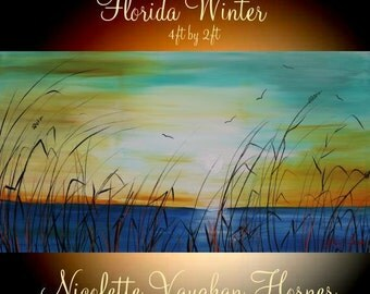 """XL ORIGINAL 48"""" x 24""""  Abstract Acrylic gallery canvas-Contemporary Modern Florida Winter Marsh Oil painting by Nicolette Vaughan Horner"""