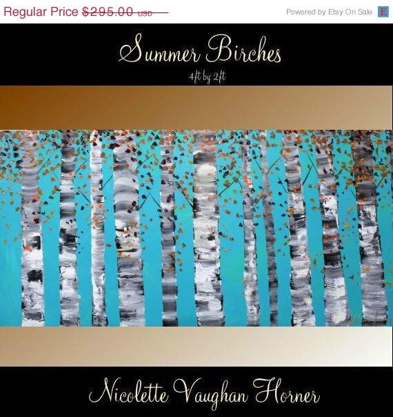 """SALE Ready To Ship XLarge Birch Trees Oil Landscape Abstract Original Modern 48"""" palette knife impasto oil painting by Nicolette Vaughan Hor"""