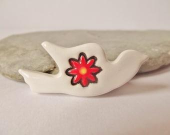 Ceramic White Dove Flower Brooch Pin,  Bird Brooch, Bird Pin, Bird Jewellery, Dove Jewellery, Dove Pin, Small Brooch, White Dove Pottery