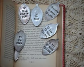 Lyn: Hand Stamped Bookmark Fell Asleep Here for tea/coffee drinkers, book lovers / tea gift idea / coffee and books / coffee gift